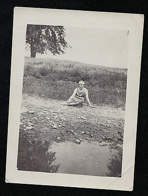 Vintage Antique Photograph Sexy Woman in Bathing Suit Sitting on Ground By Water