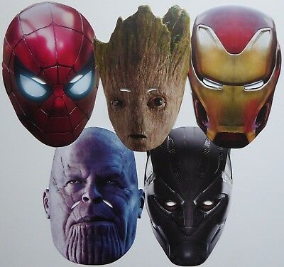 Marvel Avengers Infinity War Character Face Masks - Great for Kids and Parties