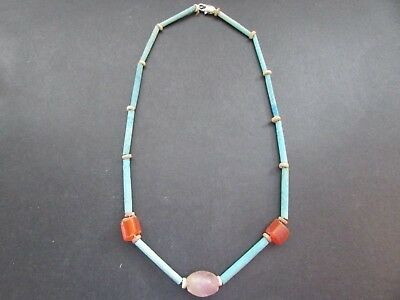 NILE Ancient Egyptian Carnelian+Ameythyst Amulet Mummy Bead Necklace ca 600 BC