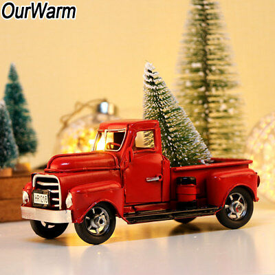 Vintage Red Metal Truck Christmas Ornament Kids Gifts Toy Xmas Table Top Decor