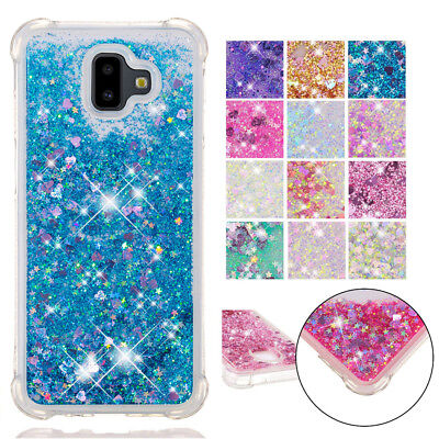For Samsung J4 J6 Plus 2018 Shockproof Bling Case Glitter Liquid Quicksand Cover