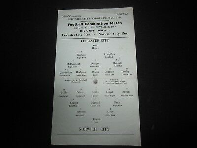 1963-64 RESERVES LEICESTER CITY v NORWICH CITY