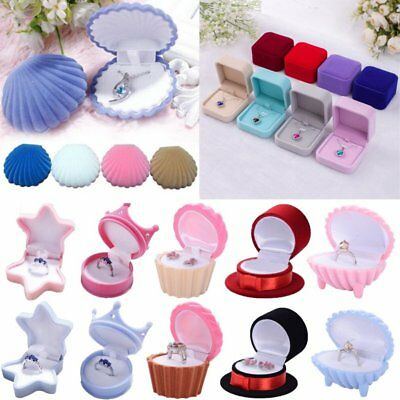 Fashion Velvet Engagement Wedding Earring Ring Pendant Jewelry Display Box Gift