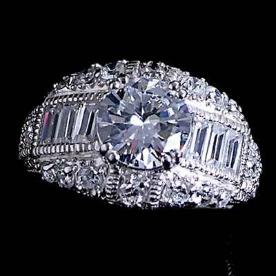 Antique Vintage Style Brilliant Clear Cz Cocktail Ring Sz-8__925 Silver-Nf