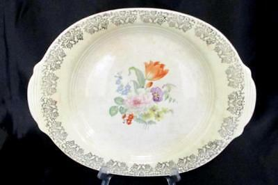 Vintage Century By Salem China Serving Dish Flowers Gold Trim