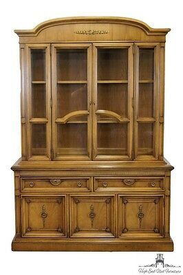 "UNITED FURNITURE 56"" Mid Century Tuscan Old World Style Lighted China Cabinet..."