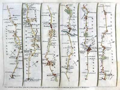 ROAD MAP BY JOHN SENEX c1762 HAND COLOUR GLOUCESTERSHIRE OXFORD / WALES PRESTAIN