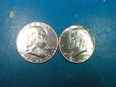 FRANKLIN HALF AND 1964 SILVER KENNEDY HALF , TOTAL 2 pcs