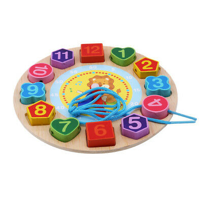 Baby Kids Wooden Digital Geometry Round Clock Educational Toy Blocks Toys CB
