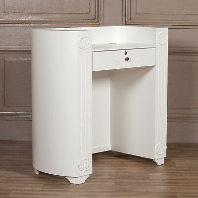 French Style Chic White Reception Desk Welcome Beauty Salon Stand Trade Counter