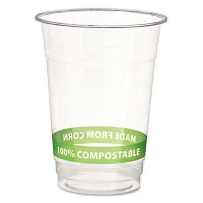 Eco Compostable Corn Clear Plastic Cups Cold 16 Oz Clear/Green Stripe 1000/CT