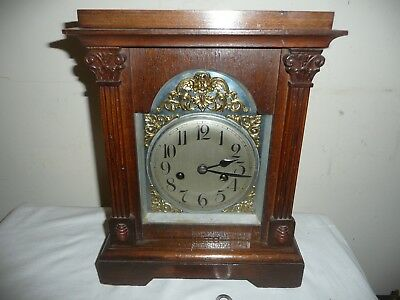 Antique, Oak Case, Badische Bracket Clock in Excellent Condition, With Key.