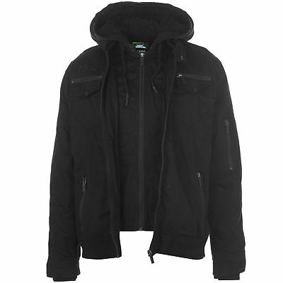 No Fear Mens Double Layer Jacket Softshell Coat Top Long Sleeve Cotton Hooded