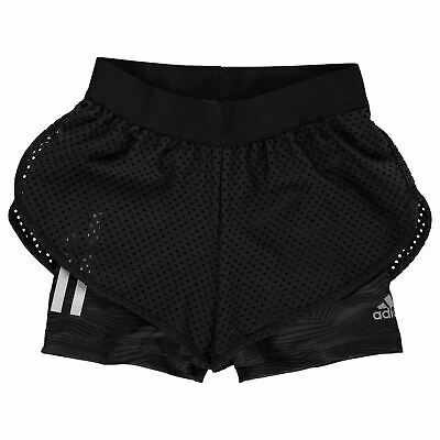 adidas Kids Girls Run Shorts Junior Woven Pants Trousers Bottoms Breathable