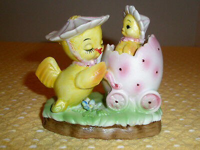 Vintage Easter Figurine Bisque Chick and Peep in Egg Stroller