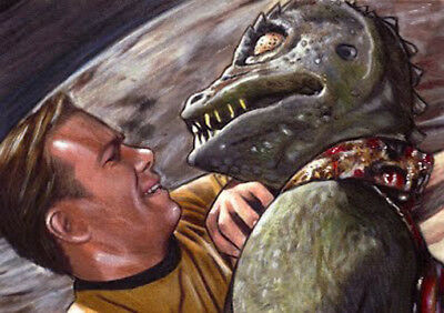 STAR TREK TOS Capt. KIRK vs GORN SHATNER Sketch Card PRINT 1 of 15 ART