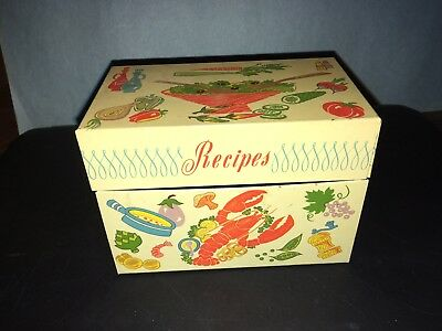 Cooking Design Vintage Tin Recipe Box File Box 3X5 Index Cards - Mid Century Mod