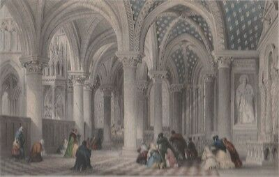 "1845 Antique Engraving - ""Chapel of the Virgin, Abbey Church, St. Denis"" - Allom"