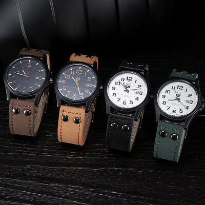 Military Leather Waterproof Date Quartz Analog Army Men's Quartz Wrist Watches k
