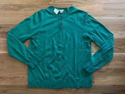 6ce801ceda J CREW WOMENS Nwt The Caryn Cardigan Sweater Kelly Green 100% Cotton Large