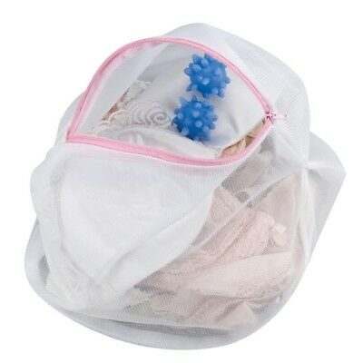 Household Essentials Lingerie Wash Bag White Polyester with 2 Blue Washer Ball