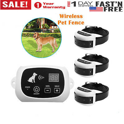 Dog Pet Fence Containment System Transmitter Collar Wireless Electric Waterproof