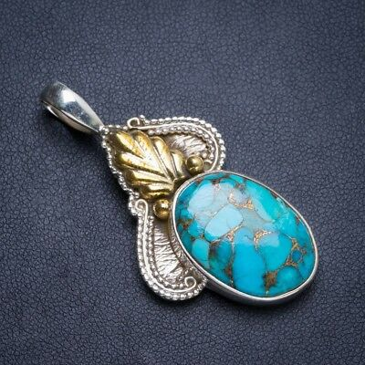 "Two Tones Copper Turquoise 925 Sterling Silver Pendant 2"" Y5172"