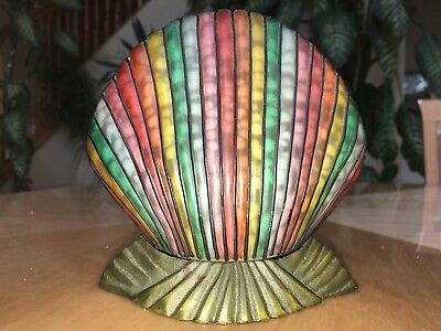 """Vintage Art Deco Stained Glass Clam Shell Metal Base Light 6x6"""" Rare Table  Desk"""