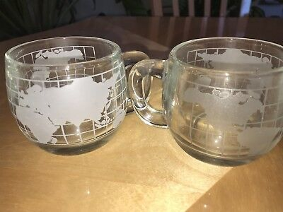 2 Rare Nescafe Glass Cups World Globe Etched Cocoa Coffee Mugs Vintage Nice Set