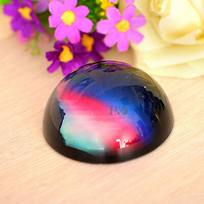 80mm Crystal Half Sphere Ball Paperweight Aurora Ornament Home Office Xmas Decor