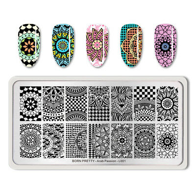 BORN PRETTY Nail Stamping Plates Arab Passion Rectangle Image Templates Manicure