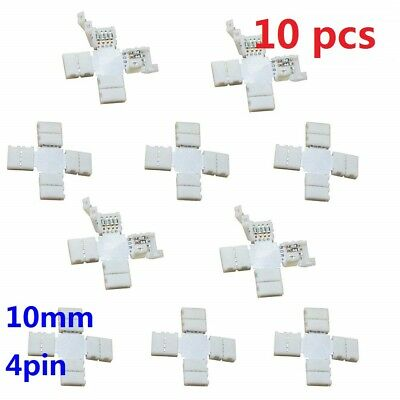 X10 4 Pin 10mm Cross X Shape Connector Wire for SMD 3528/5050 LED Strip Light ~
