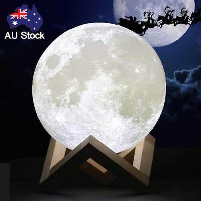 3D Magical Moon Lamp USB Dimmable LED Night Light Moonlight Touch Sensor Decor