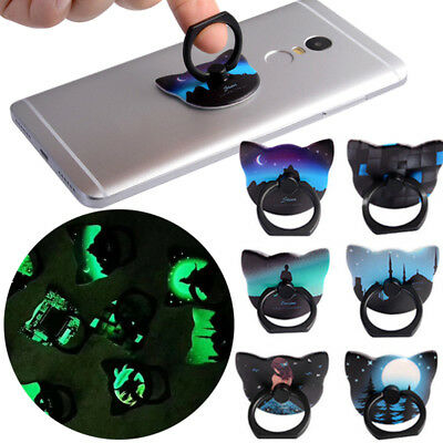 Creative Glow in the Dark Phone Holder Finger Ring Pop Mobile Grip Stand Socket