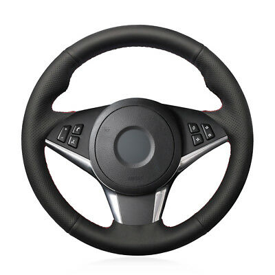 For BMW E60 530d 545i hand-sewn steering wheel cover black artificial leather