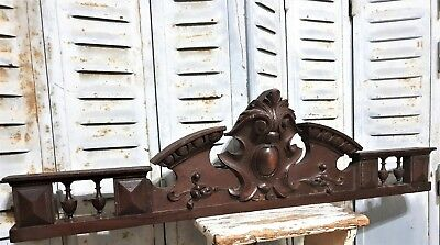 Architectural gothic crown pediment Antique french wood carving salvage paneling