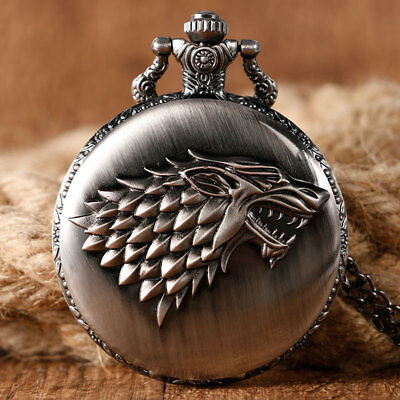 Game of Thrones Stark House Crest Wolf Cool Quartz Pocket Watches Necklace Chain