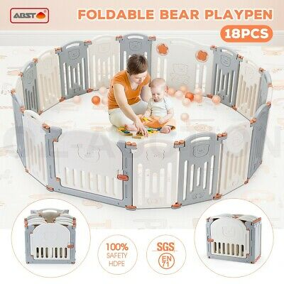 ABST 18 Sided Foldable Panel Baby Playpen Interactive Baby Room Kids Safety Gate