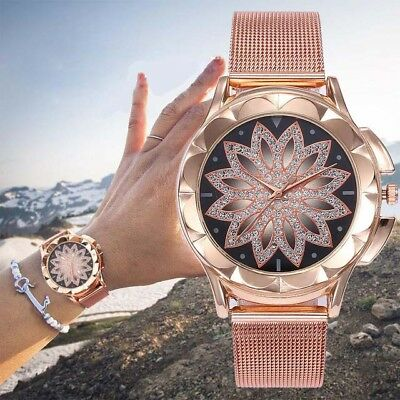 Women's Fashion Flower Rose Gold Rhinestone Wrist Watches Luxury Quartz Watch