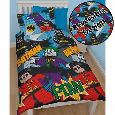Official Lego Dc Superheroes Batman Dynamic Single Duvet Cover Set Kids Bedding