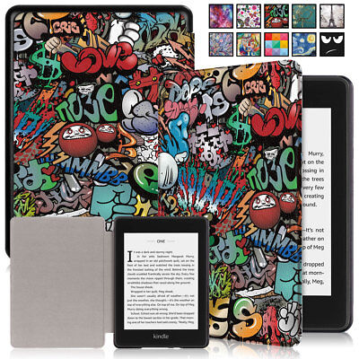 For Amazon Kindle Paperwhite 2018 10th Gen Smart PU Leather Patterned Case Cover