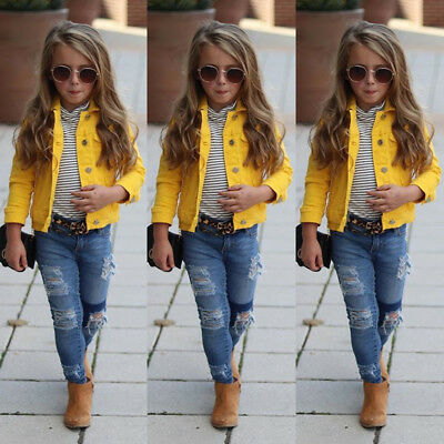 UK Stock Kids Baby Girl Jeans Outerwear Coat Denim Jacket Tops Outfits Clothes