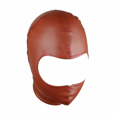 PU Leather Breathable Hood Half Face Open Mask Brown