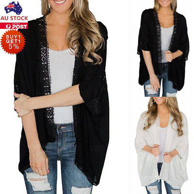 Women Lace Cardigan Ladies Casual Kimono Outwear Summer Top Long Sleeve Blouse
