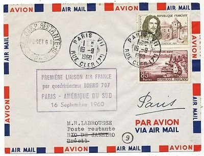 AVION AVIATION  AIR FRANCE 1ere LIAISON QUADRIMOTEUR BOEING 707 PARIS RIO JANEIR