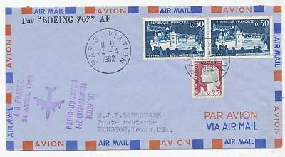 AVION AVIATION  AIR FRAN 1ere LIAISON EN BOEING 707 AF PARIS-HOUSTON 1962