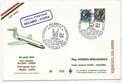 Avion Aviation Italie First Special Flight Volo Postale Milano-Coira 1979