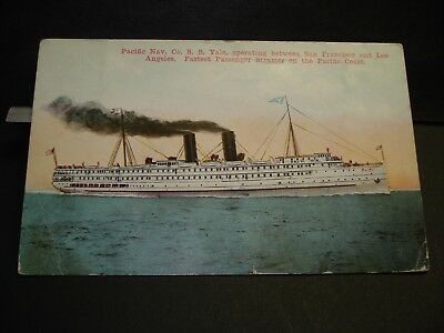 Steamer YALE, PACIFIC NAVIGATION Co Naval Cover 1913 LONG BEACH, CALIF postcard