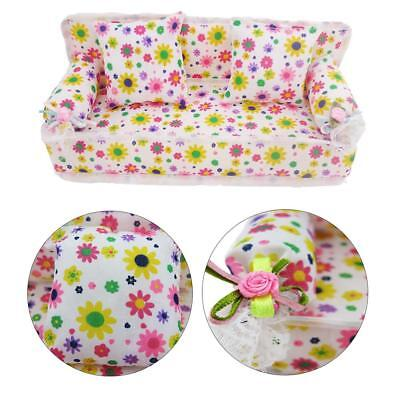 Mini Furniture Flower Sofa Couch +2 Cushions For Barbie Doll House Accessories