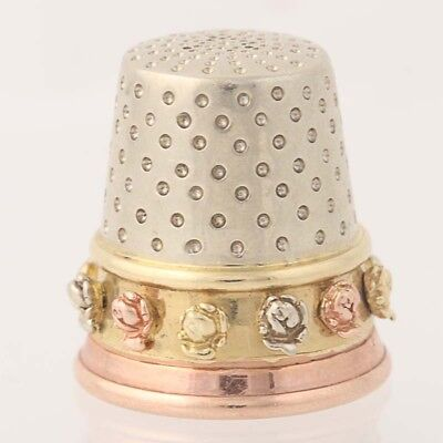 Hearts & Flowers Thimble - 10k Yellow, White, & Rose Gold Sewing Vintage Floral